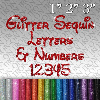 Glitter Letters /& Numbers Iron on Hot Fix FABRIC TRANSFER SEQUIN Custom Sticker