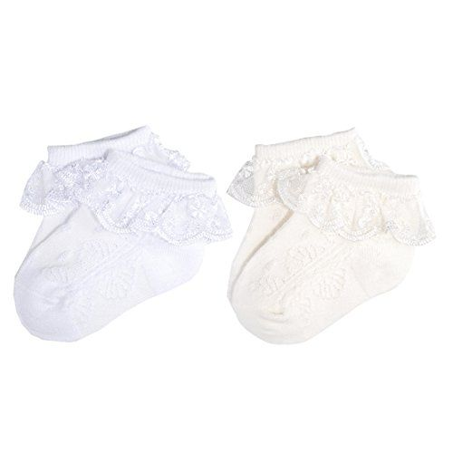 Eyelet Frilly Lace Socks Cotton Ankle Socks for Toddler,Pack of 4 Pcs Baby Girl Lace Socks