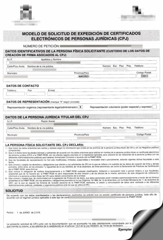 Expedición certificado
