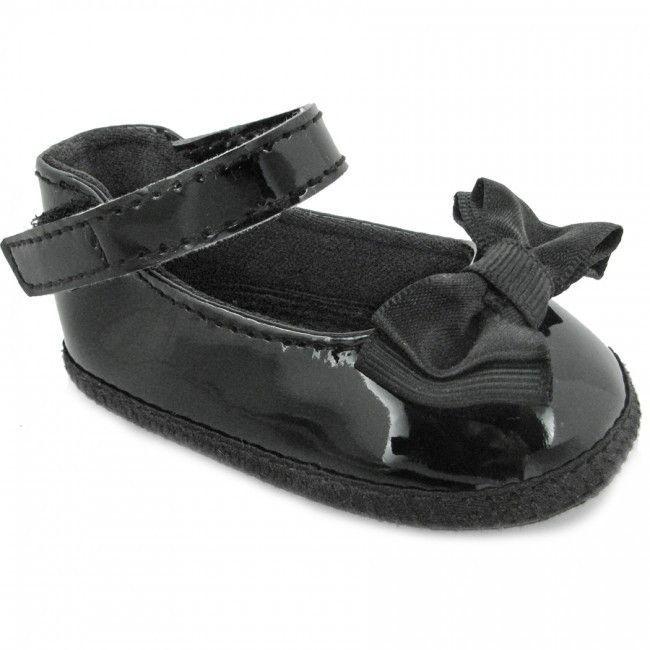 Baby Deer Black Patent Bow Skimmer Booties Crib Shoes Girls Newborn Size 0