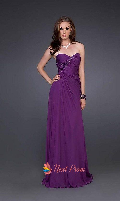 Purple Strapless Prom Dress, Long Purple Evening Dress, Long Prom ...