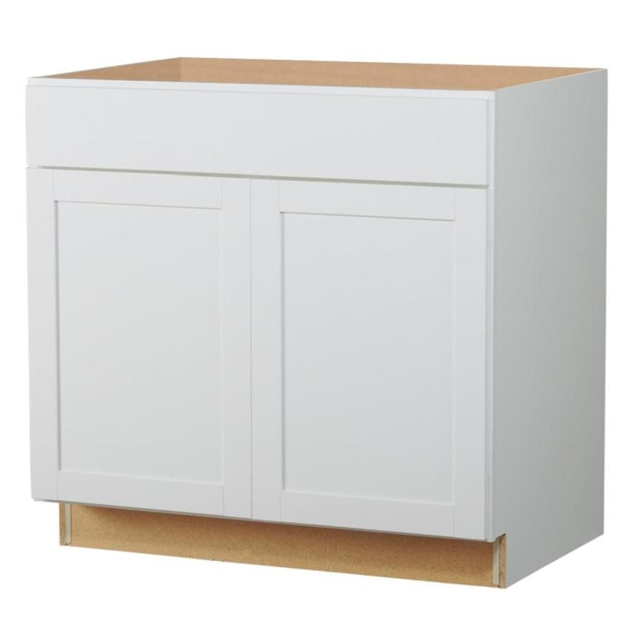 Lowes Stock Cabinets Diamond Now Arcadia 36 In W X 35 In H X 23 75 In D White Shaker Door And Drawer Base Stock Kitchen Cabinets Stock Cabinets Base Cabinets