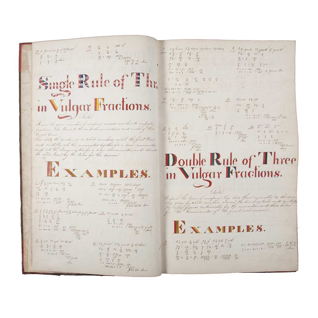 """Doyle NY, Lot 339   [ARITHMETIC]   Manuscript workbook caption titled """"Promiscuous Questions in Vulgar Fractions""""."""