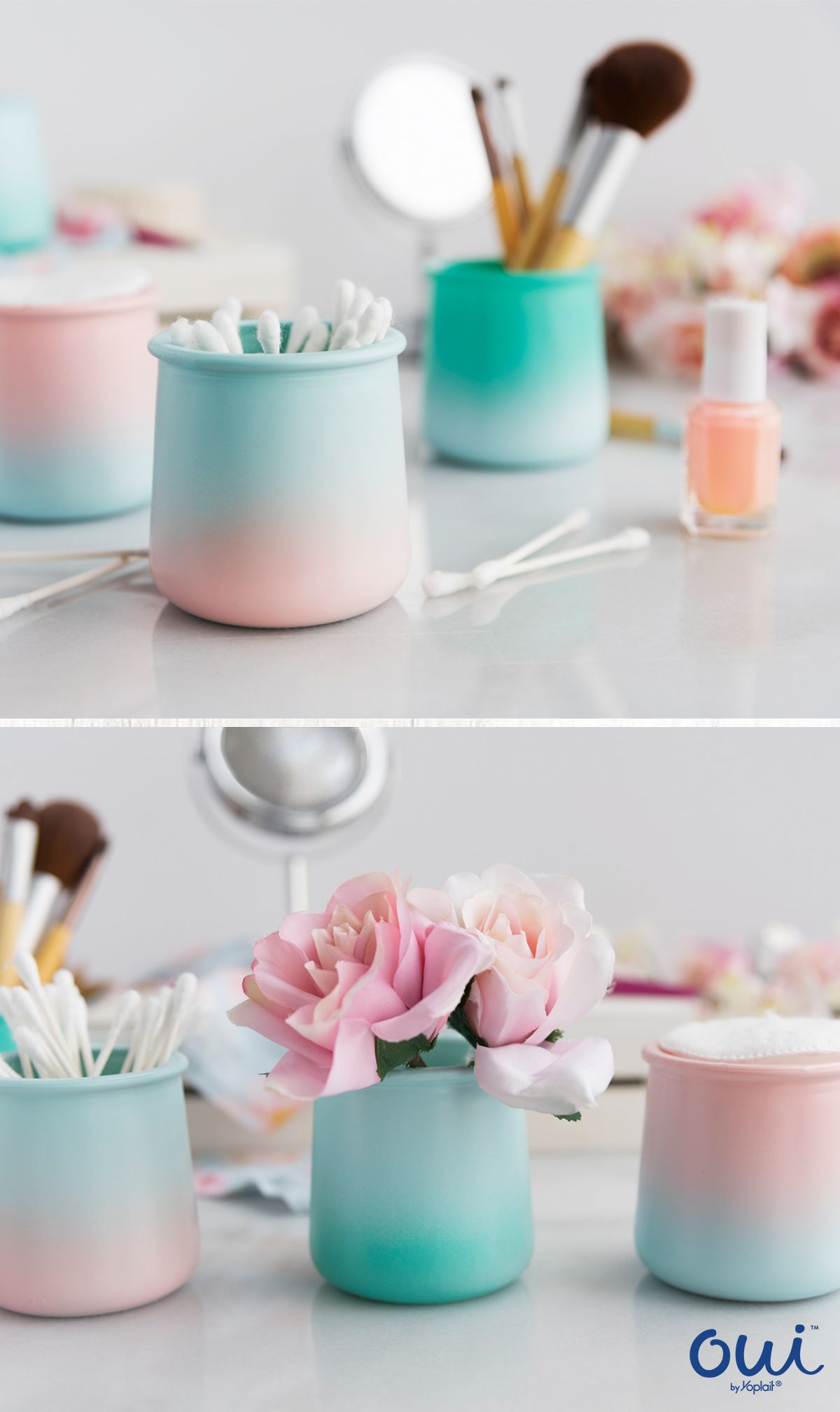 Oui By Yoplait Glass Pots Are The Perfect Diy This Spring Spray Paint Pots In Your Favorite Colors To Crafts With Glass Jars Baby Food Jar Crafts Glass Crafts