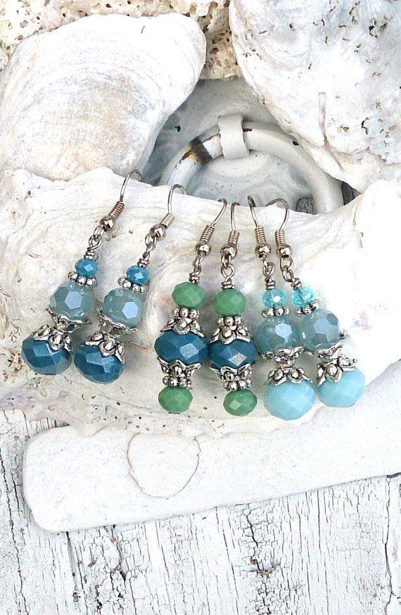Blue Green Aqua Crystal Earrings by SecretStashBoutique #crystal #blue #green #aqua #silver #earrings