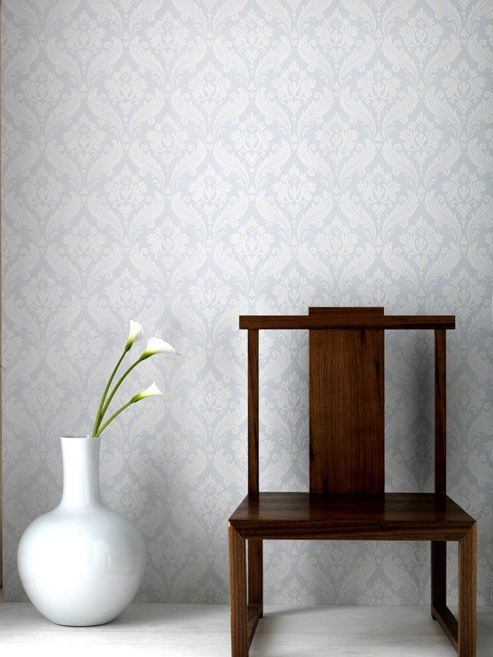 Vintage Flock Wallpaper By Kelly Hoppen White Damask Wall Coverings By Graham Brown