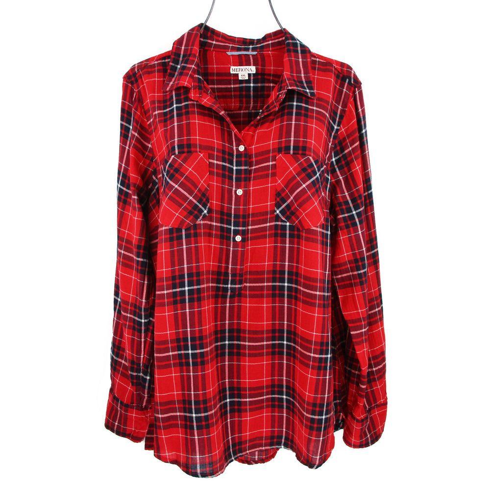 Flannel shirt plus size  Womens XXL Flannel Shirt Plus Size Plaid Tunic Top Popover Long