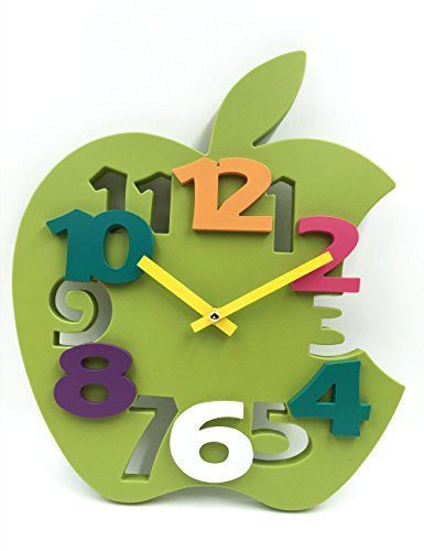 Hippih Mute Le Shaped Wall Clock With Plastic Material For Home Decor Green