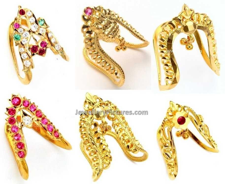 Six beautiful designs of 22 caart Gold Vanki ring by Totaram ...