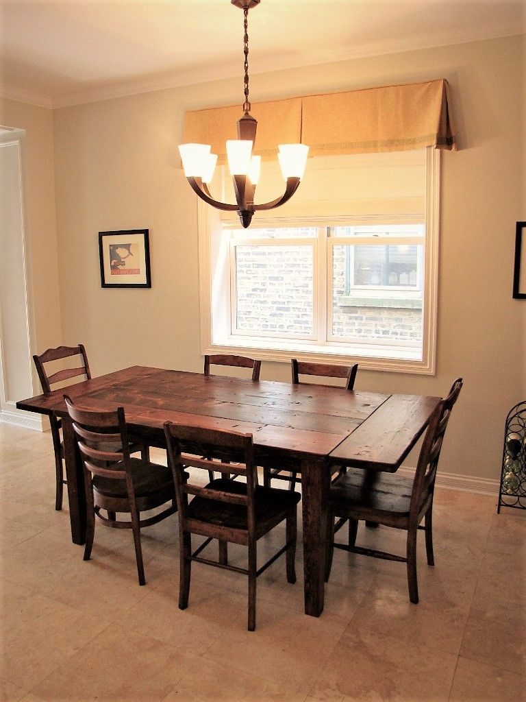 Kitchen table with bench seating and chairs  Rustic worn traditional table with grooves and table extensions