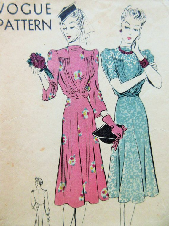 Vintage Vogue 8242 Sewing Pattern, 1940s Dress Pattern, Frock ...