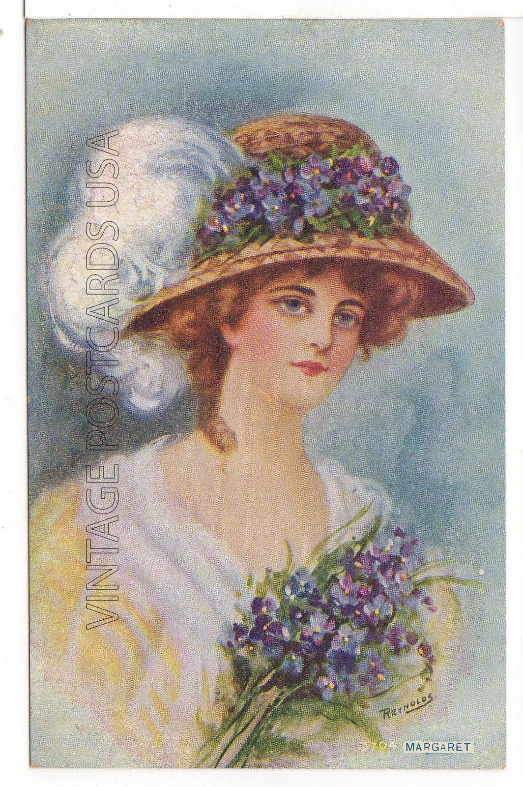 """Margaret"" BY Artist Reynolds Pretty Woman IN HAT Antique Postcard | eBay"