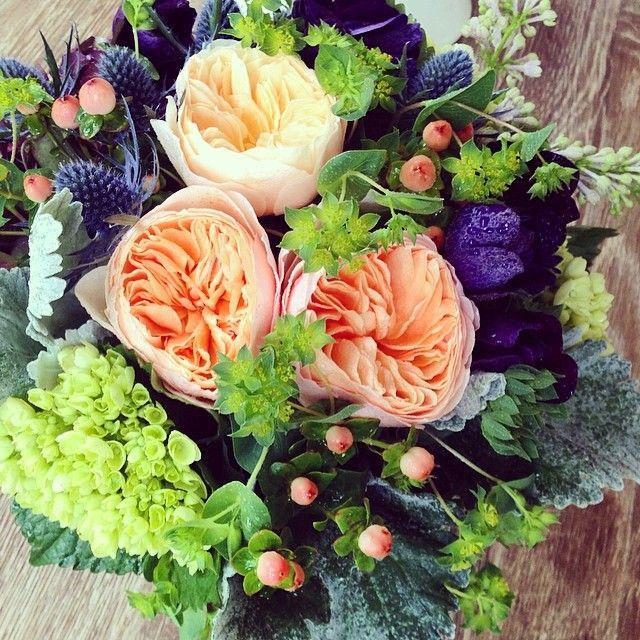 .@parkcitiespetals | Juliet Garden Roses #julietgardenrose #hydrangea #hypericum #dustymiller #blu... | Webstagram