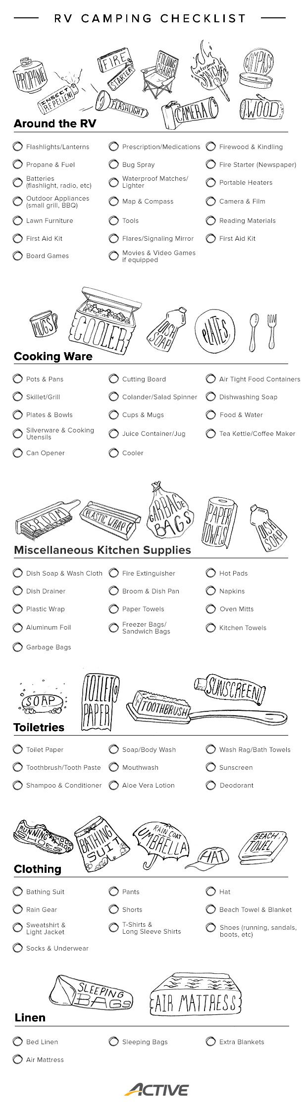 Infographic: Your Printable RV Camping Checklist | Rv ...