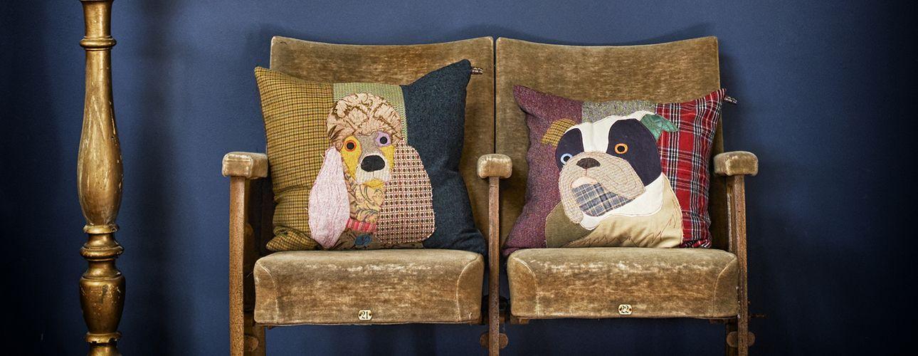 Poodle and bulldog cushion