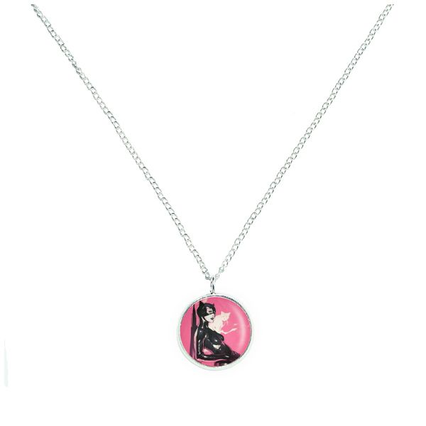 Pink Catwoman Circle Necklace from GeekyLime by DaWanda.com