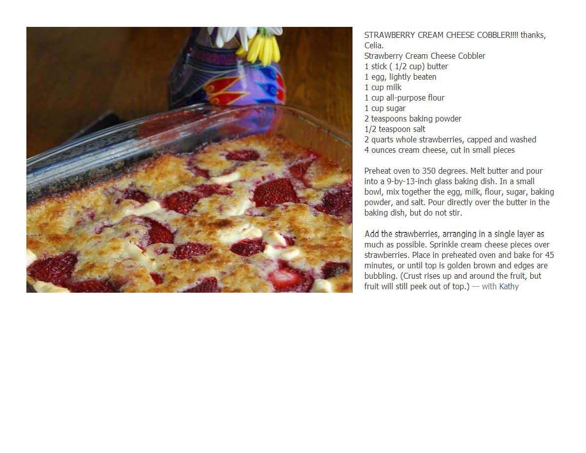 Strawberry Cream Cheese Cobbler, YUM! Must try!
