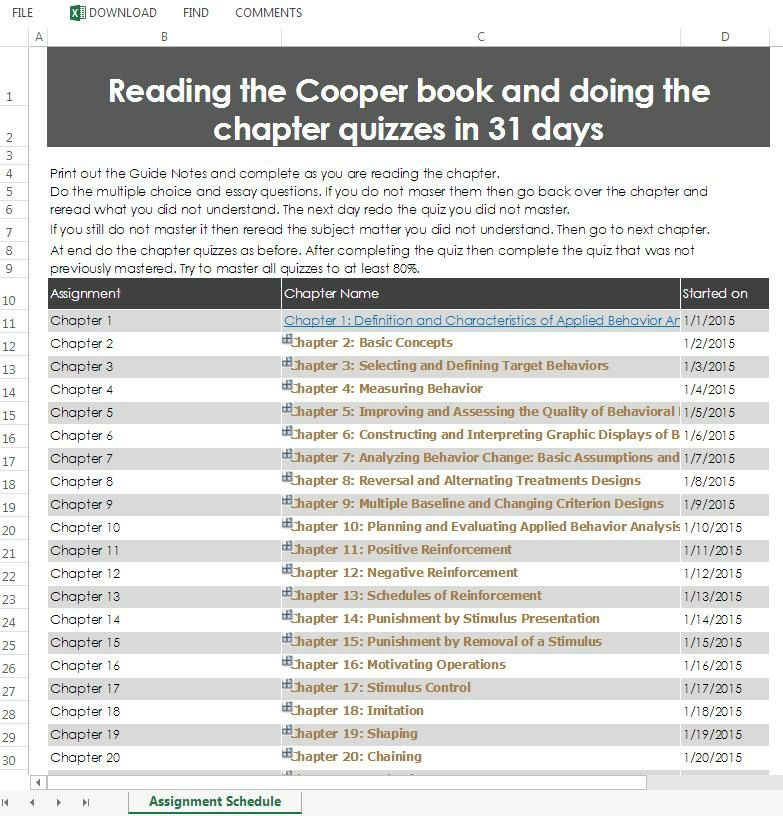 Reading The Cooper Book And Doing The Quizzes In 31 Days Bcaba Exam Applied Behavior Analysis Behavior Analysis