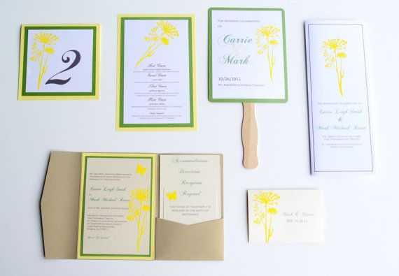 Dandelion Rustic Complete Wedding Invitation And Stationary Package