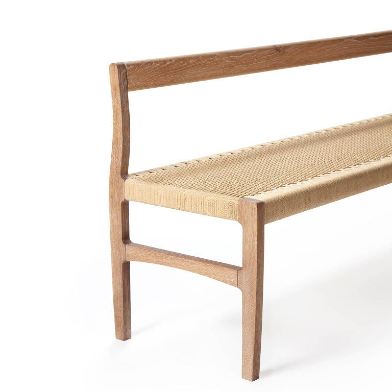 Giacomo Bench With Back Solid White Oak With Handwoven Danish Cord Seat Dining Bench With Back Modern Dining Bench Benches For Sale
