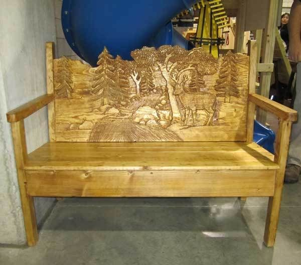Hand Carved Bench Deer Scene My Board Bench Hand