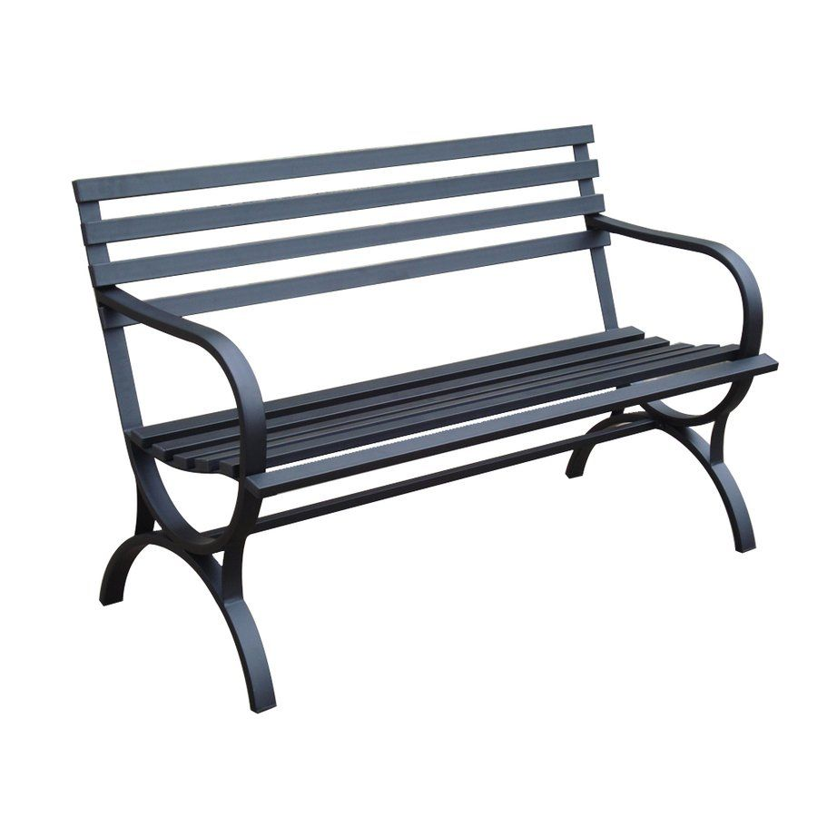 Garden treasures steel park bench lowe 39 s canada home for Metal benches for outdoors