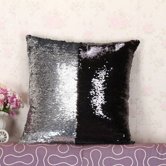 $18.00 Black Silver Sequin Mermaid Pillow, Sequin Pillow, Reversible Pillow, Decor Pillow