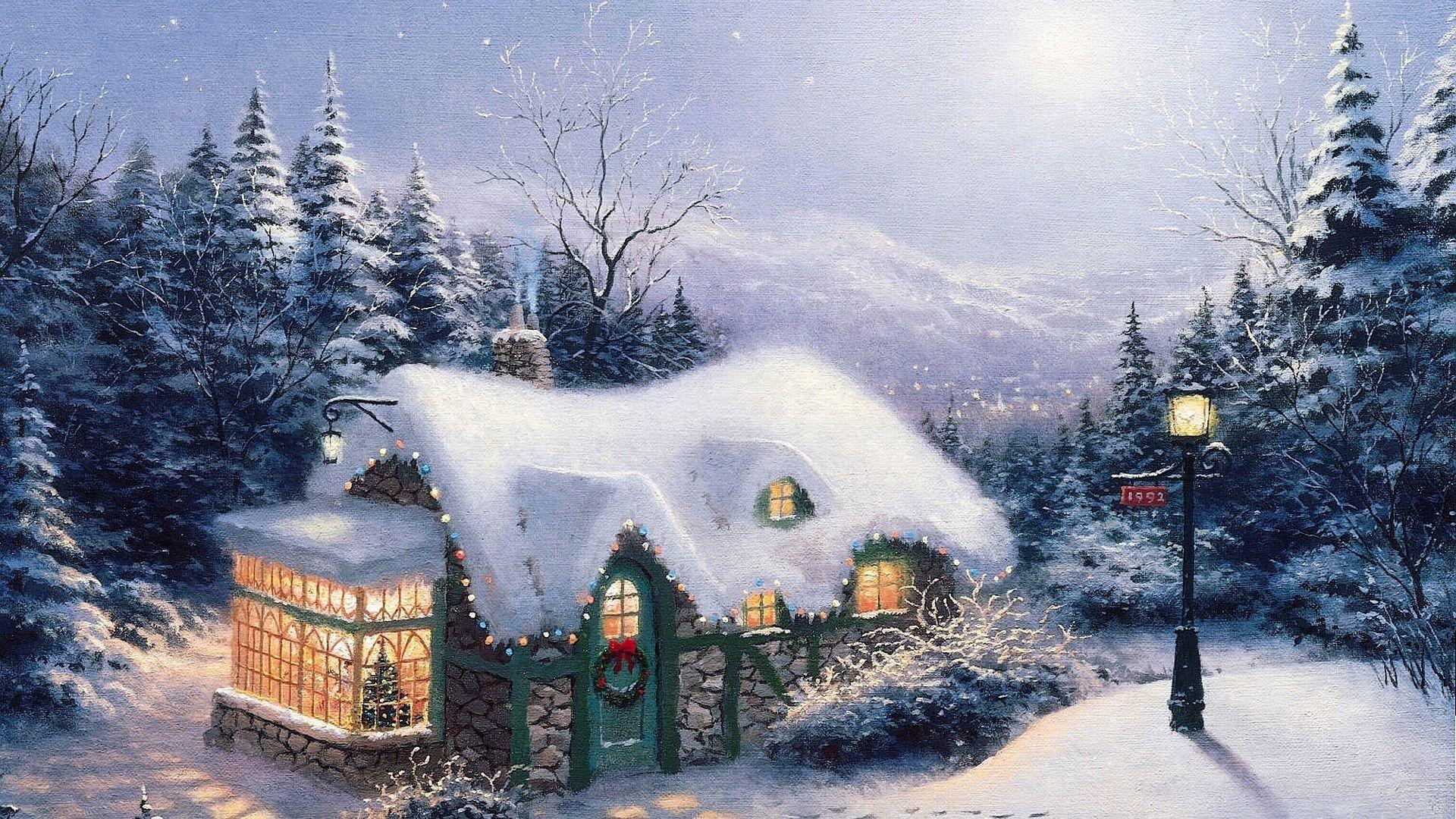 schnee haus weihnachten neujahr thomas kinkade. Black Bedroom Furniture Sets. Home Design Ideas