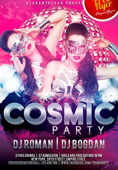 Free Download Cosmic Party PSD Photoshop Flyer Template from http ...