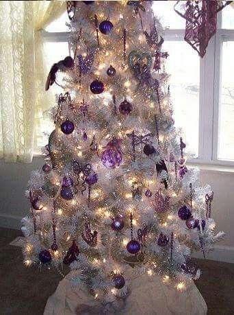 Purple Silver And White Tree Purple Christmas Tree Purple Christmas Decorations Purple Christmas Tree Decorations