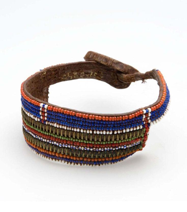 Masai Warrior's Bracelet; Leather Glass Beads