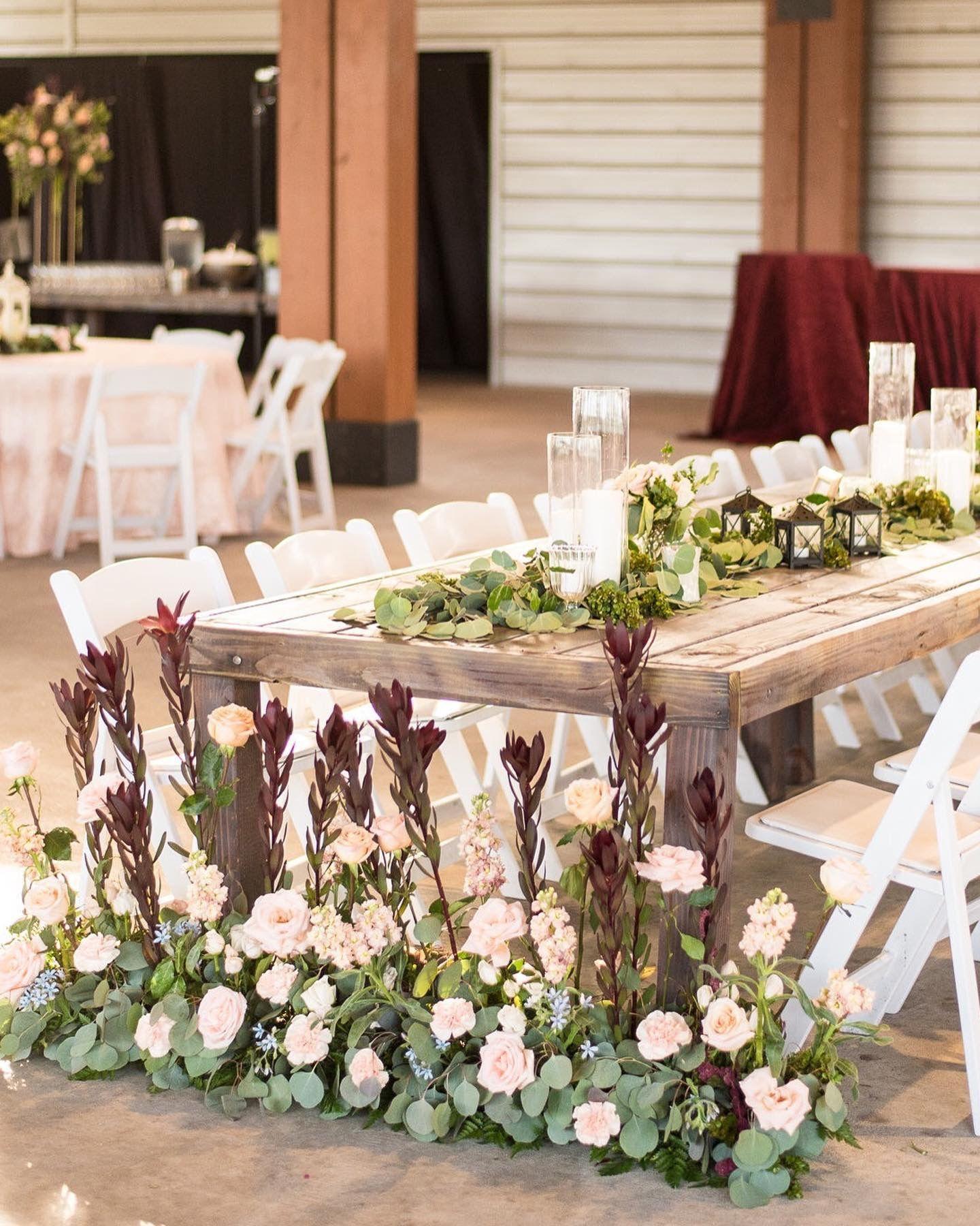 Rustic wedding reception, head table ideas, fall outdoor ...  |Outdoor Wedding Reception Head Table