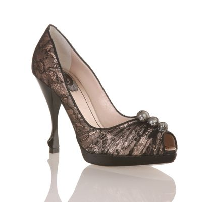 Rene Caovilla black lace and pearl peep-toe pump