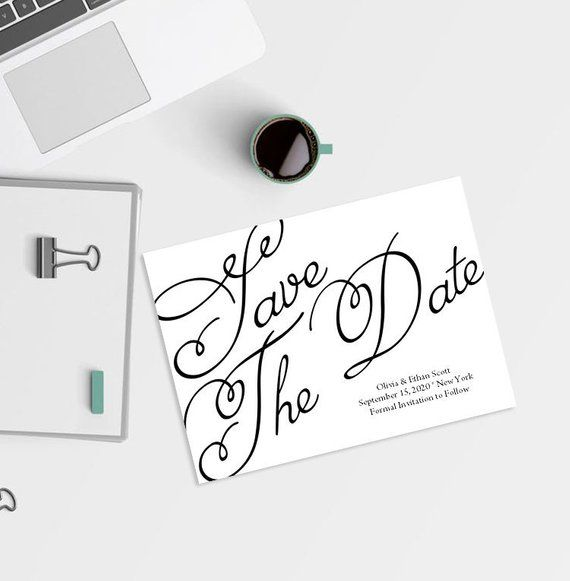 save the date template swirly calligraphy wedding printable