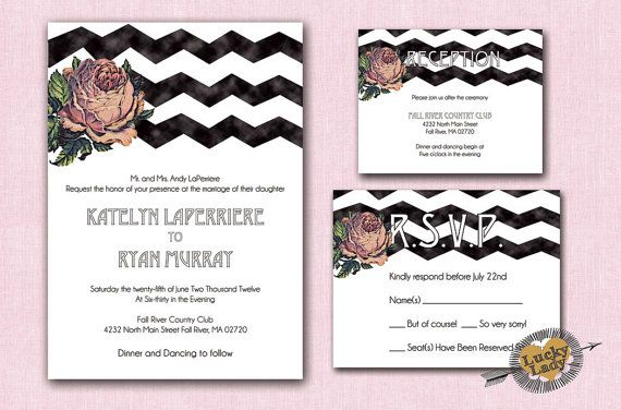 black and white chevron and vintage rose