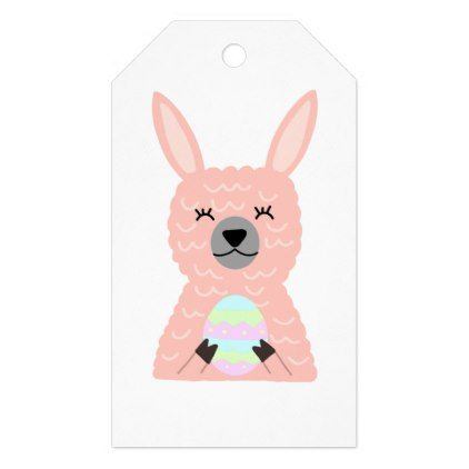 Pink llama holding easter egg gift tags negle Image collections