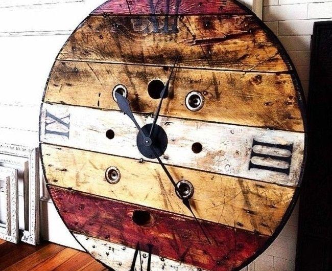 1001 id es que faire avec un touret des inspirations r cup horloge vintage touret et g ant. Black Bedroom Furniture Sets. Home Design Ideas
