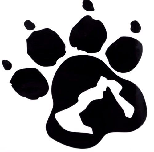 Dog Paw Ying Yang Hand Print Sign Car Truck Wall Decal Vinyl Sticker Holloween