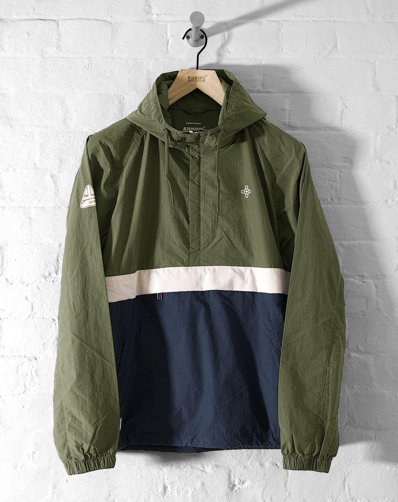 Mens jacket half - Addict Mens Eavis Smock Half Zip Hooded Jacket Cotton Nylon 80 S Style New