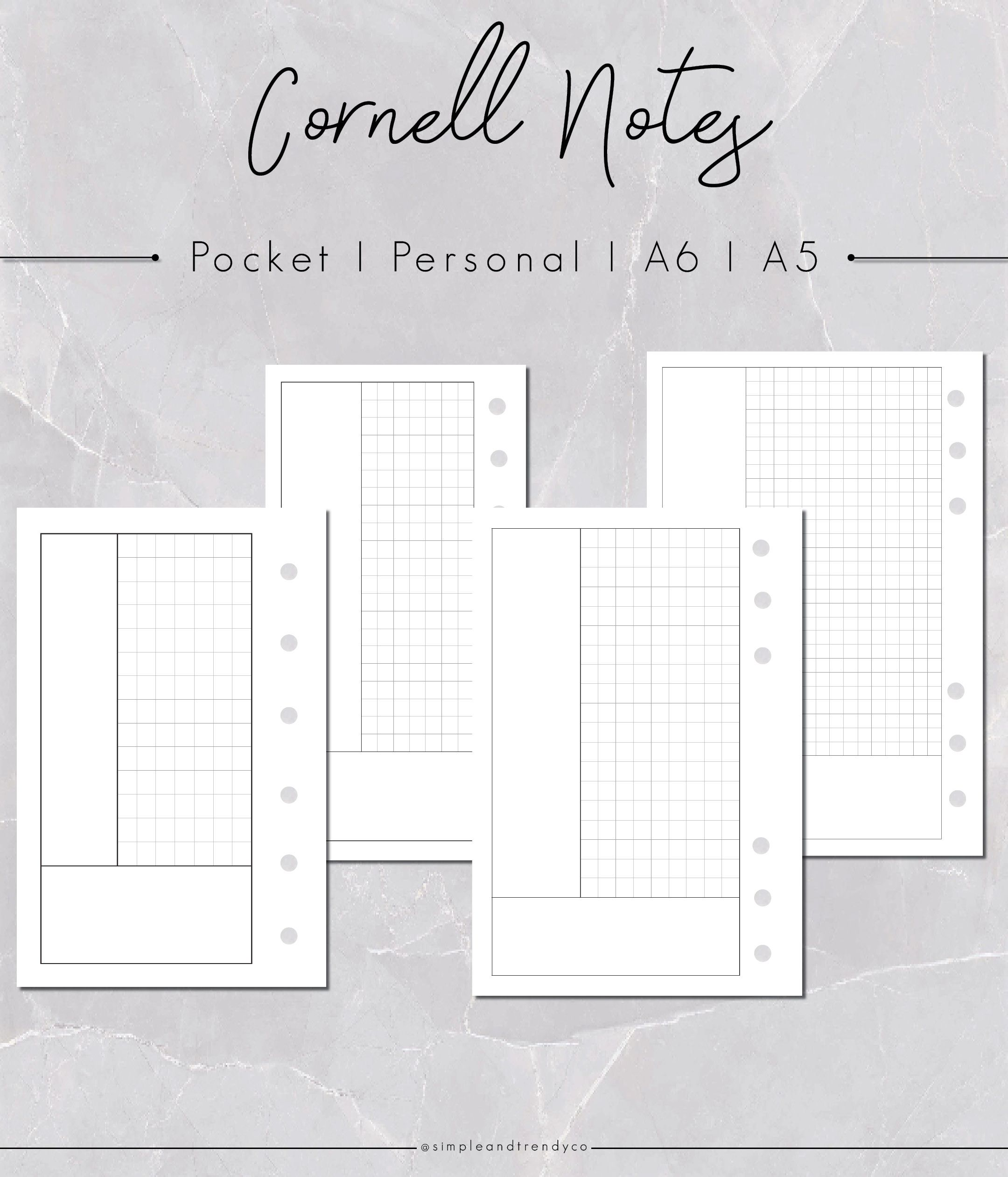Cornell Notes Printable Notes Set Pocket Size Cornell
