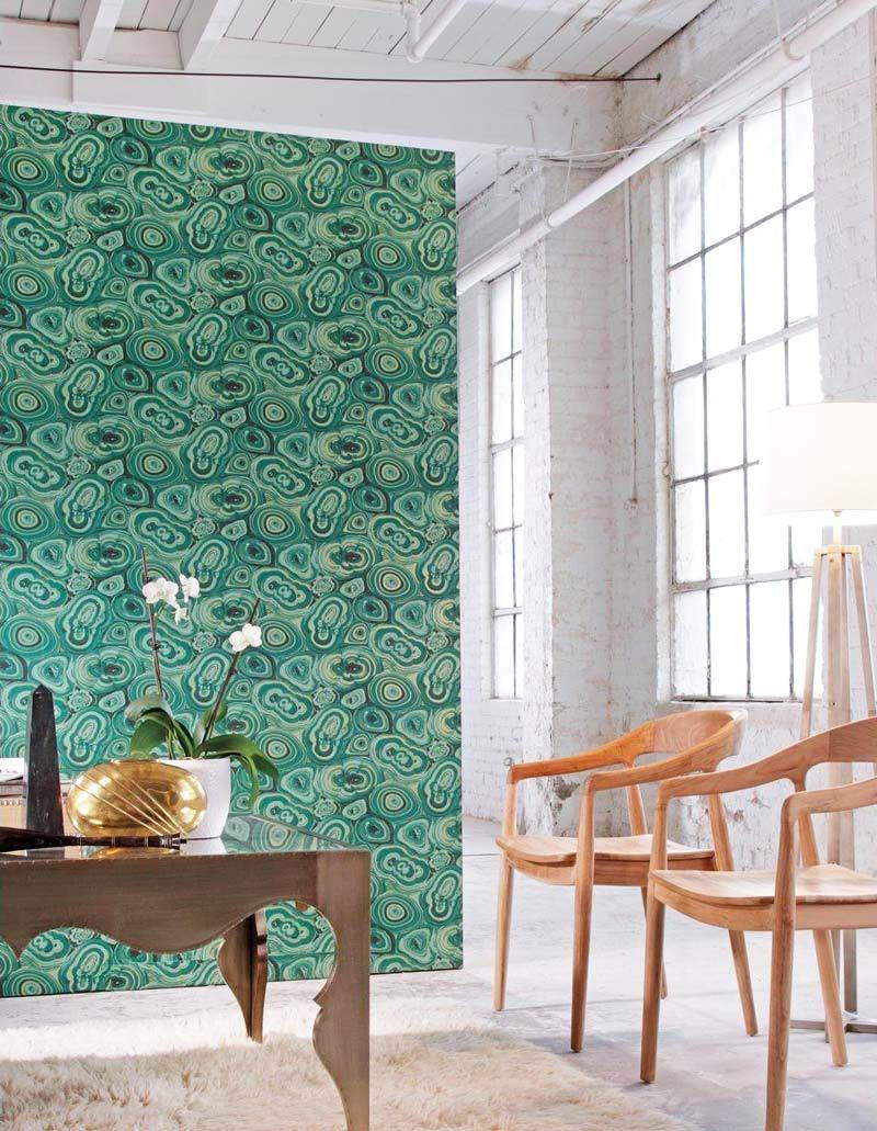 Contemporary Removable Wallpaper Malachite Green Removable Wallpaper Loft