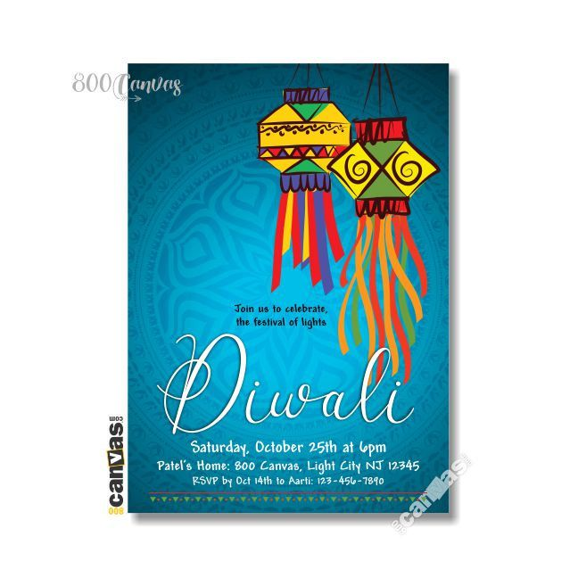 Diwali Dinner Party Invitation Festival of Lights Lanterns – Diwali Party Invitations