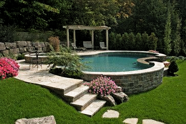 Schwimmbad Gartengestaltungkleinergarten Schwimmbad Backyard Pool Landscaping Sloped Backyard Above Ground Pool Landscaping