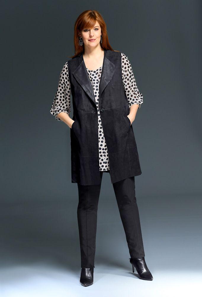 Exklusive Mode in Größen 42bis 64 von selection by Ulla Popken #exklusiv #damenmode #businessmode #plussize #elegant #style #fashion #plussizestyle #gross #shirt #woman #outfit #plussizeoutfit #vest