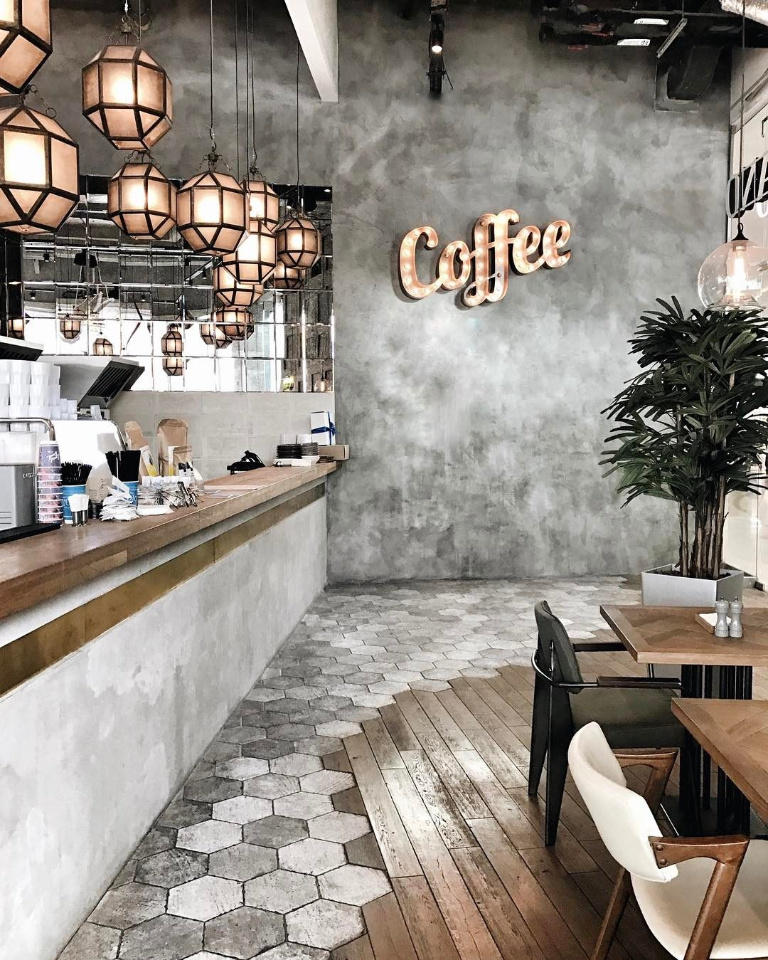 Pin by Renee Collingwood on industrial chic design  Coffee shop design Rustic coffee shop