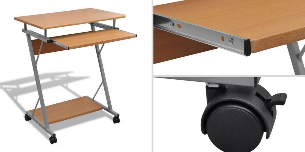 Small Computer Desktop Wooden Metal Desk Table Workstation