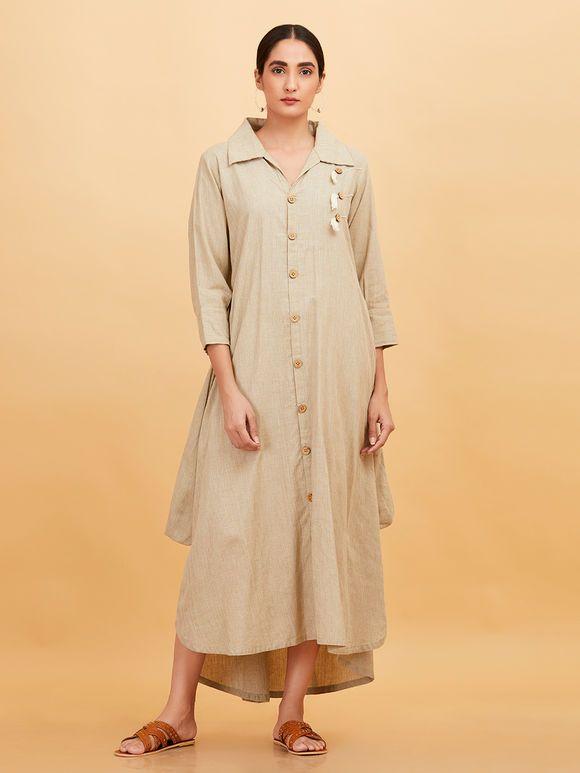 748a0343f4 Beige Khadi High Low Shirt Dress in 2019