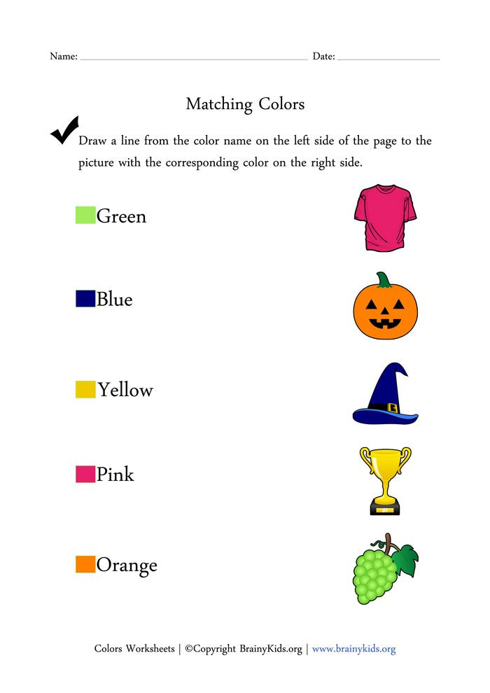 Colors Worksheets - Matching Colors with Pictures   kids activity ...