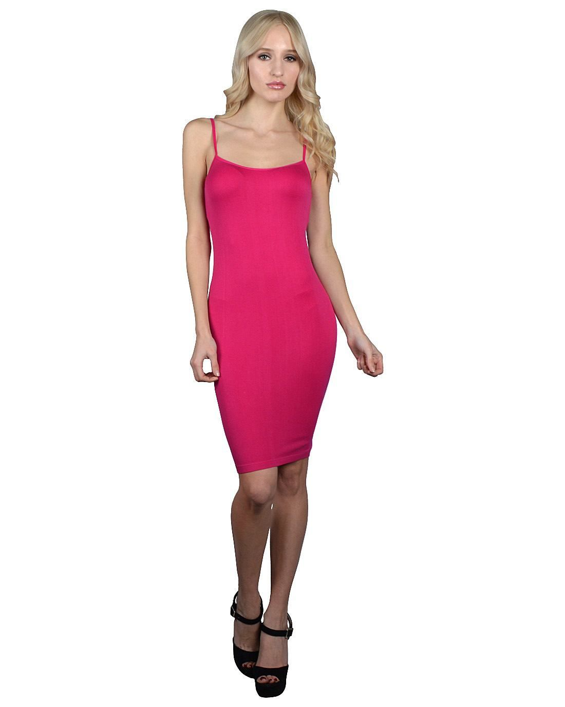 Ladies Solid Color Seamless Long Camisole Dress-id.30565q