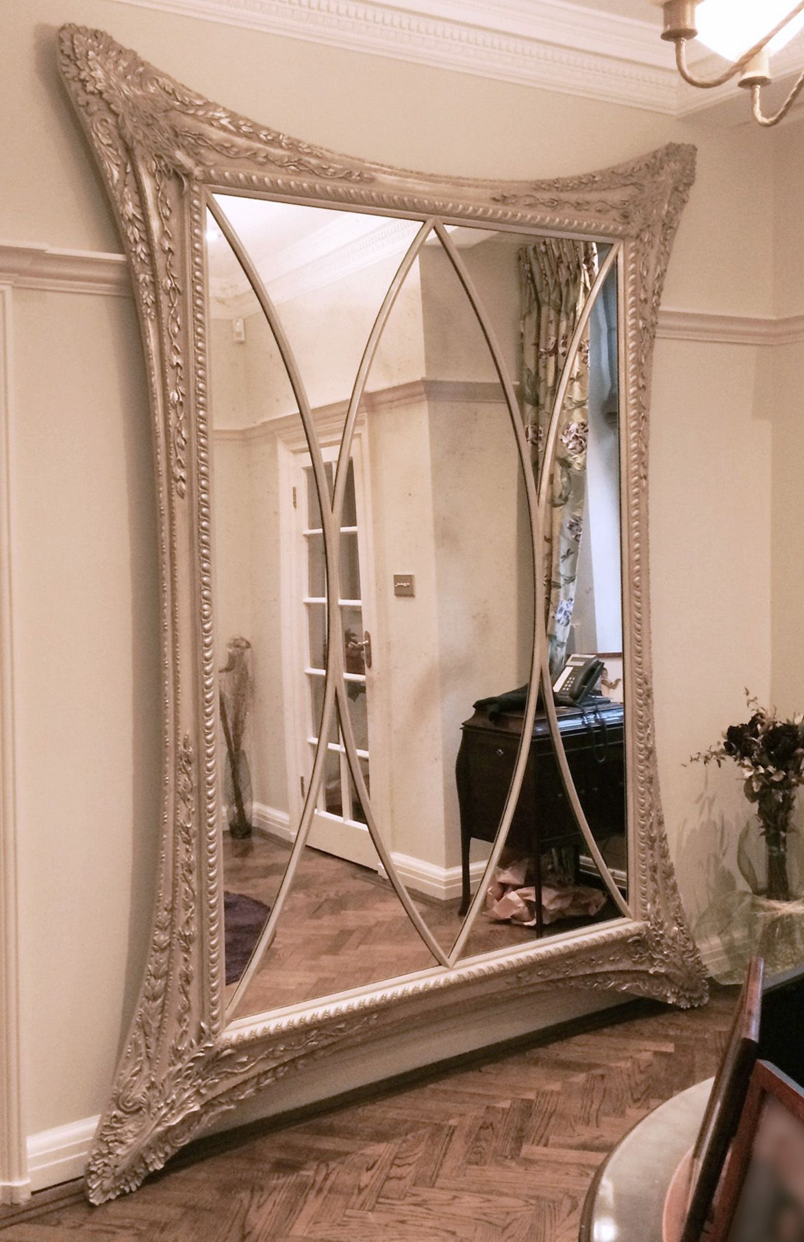 9Ft X 6Ft Ornate Waisted Mirror In Soft Silver Leaf